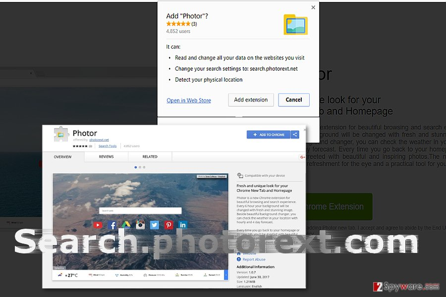 The image displaying search.photorext.com virus