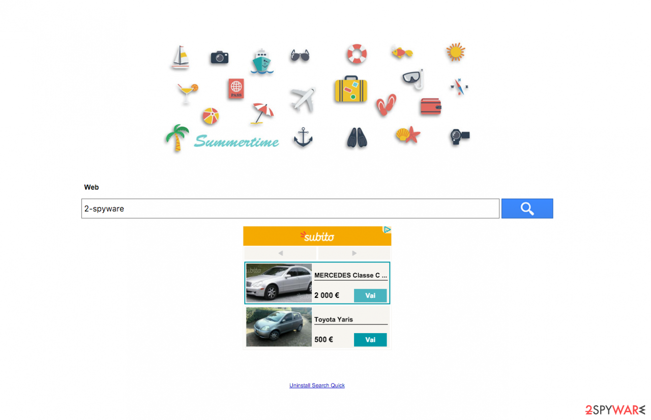 The main page of Search Quick browser hijacker