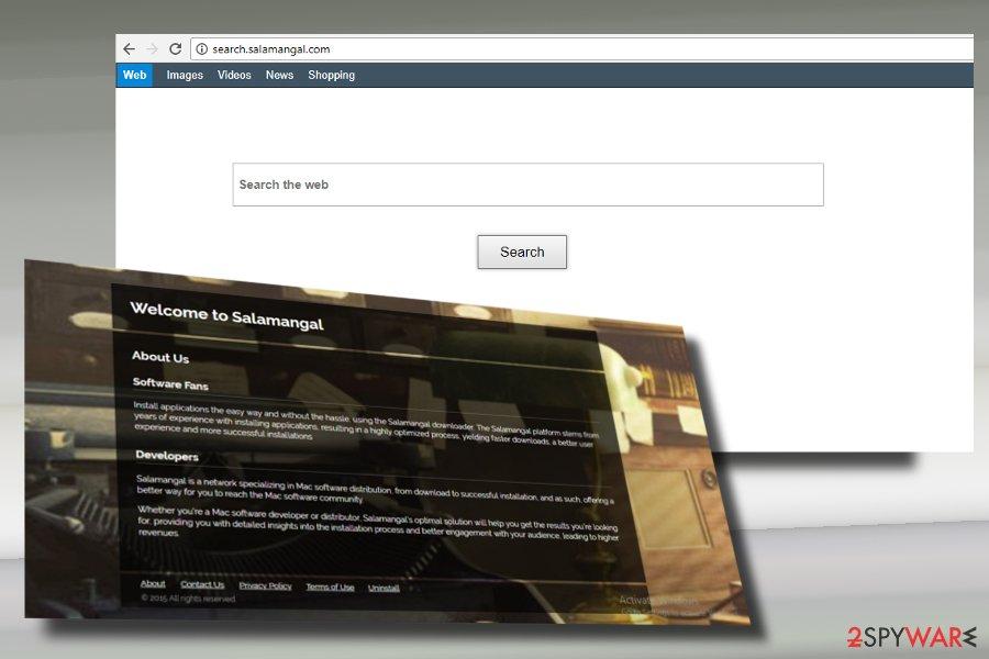 A printscreen of Search.salamangal.com virus