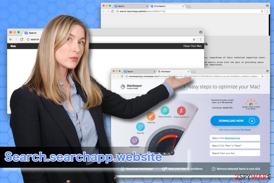 Researcher showing SearchApp virus