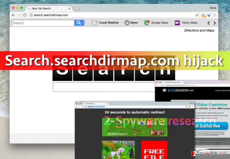 Screenshot of Search.searchdirmap.com virus