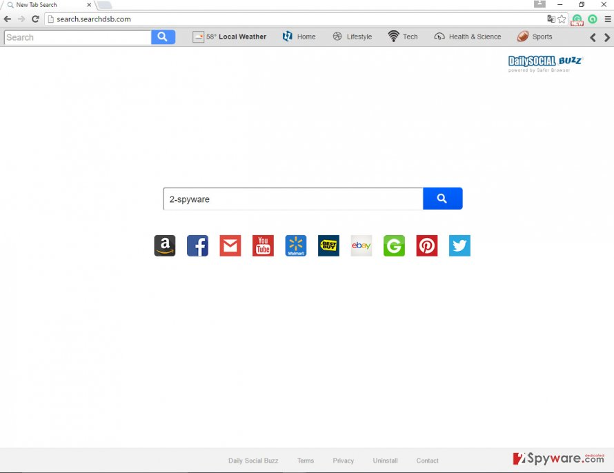 The picture of Search.searchdsb.com browser hijacker