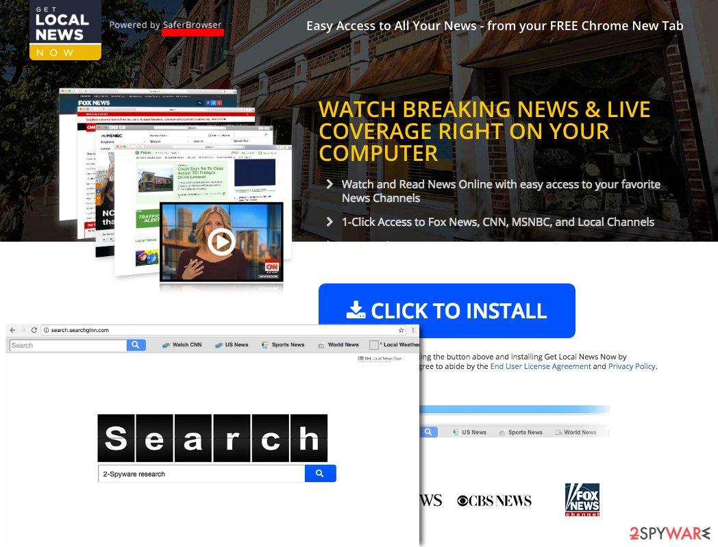 Screenshot of Search.searchglnn.com virus