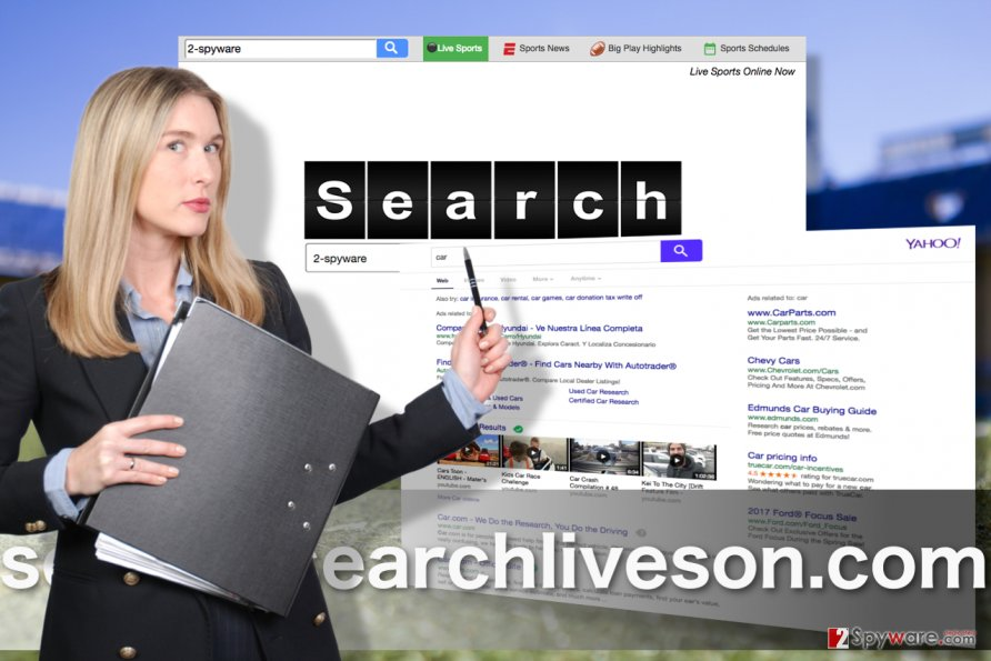 Screenshots of Search.searchliveson.com virus