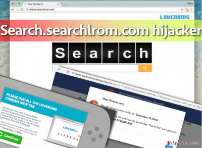 Image of Search.searchlrom.com virus, its search engine and example of ads it delivers