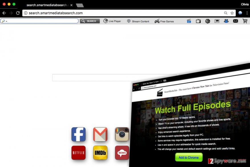 Screenshot of Search.smartmediatabsearch.com virus