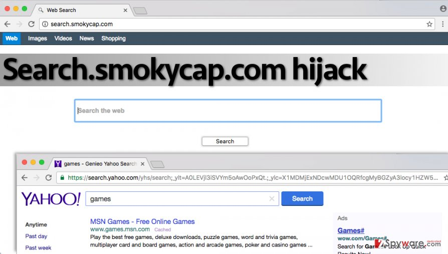 Questionable search engine promoted by Search.smokycap.com virus