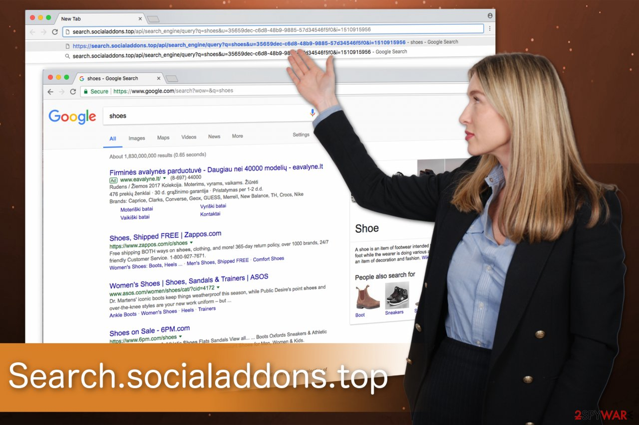 The illustration of Search.socialaddons.top hijacker