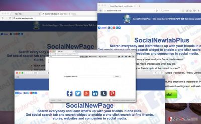 Different browsers can be affected by the same Search.socialnewpagesearch.com virus