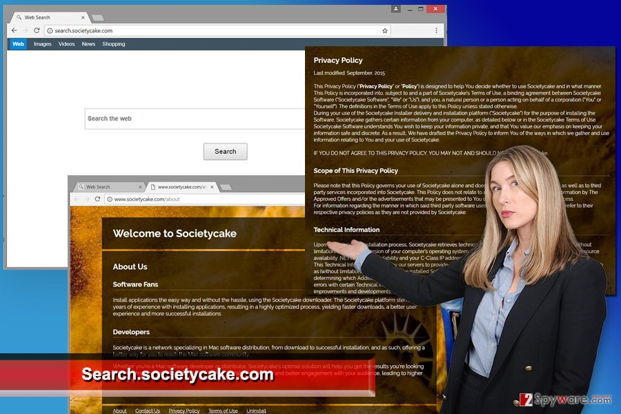 The image of Search.societycake.com virus