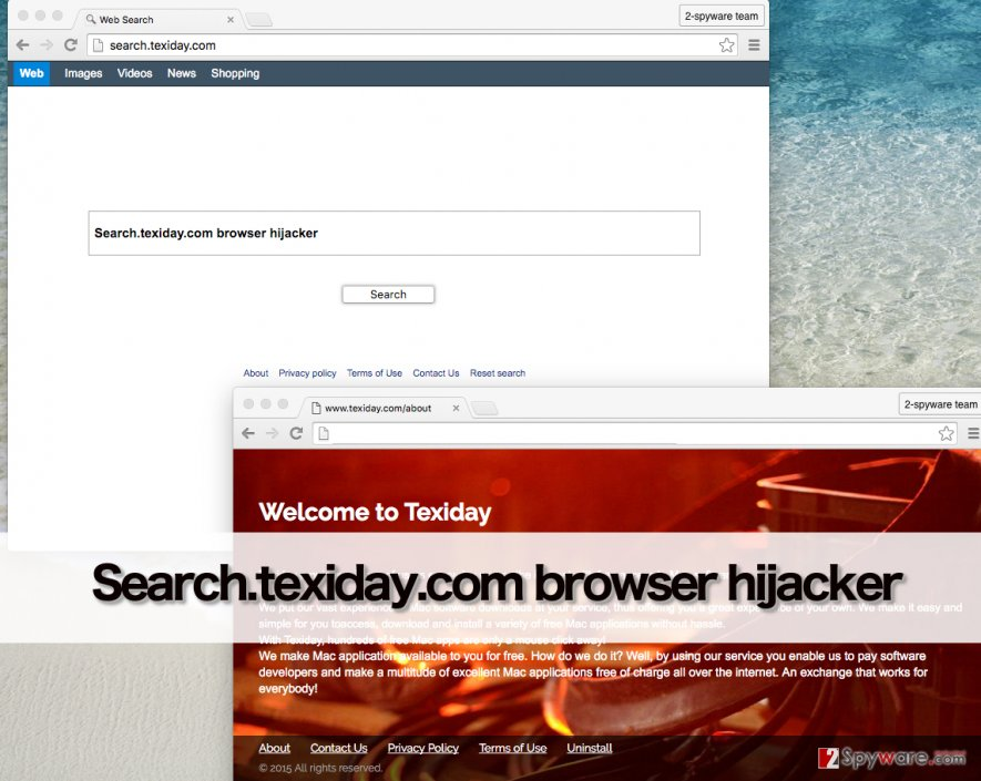 Search.texiday.com virus provides bogus web search engine