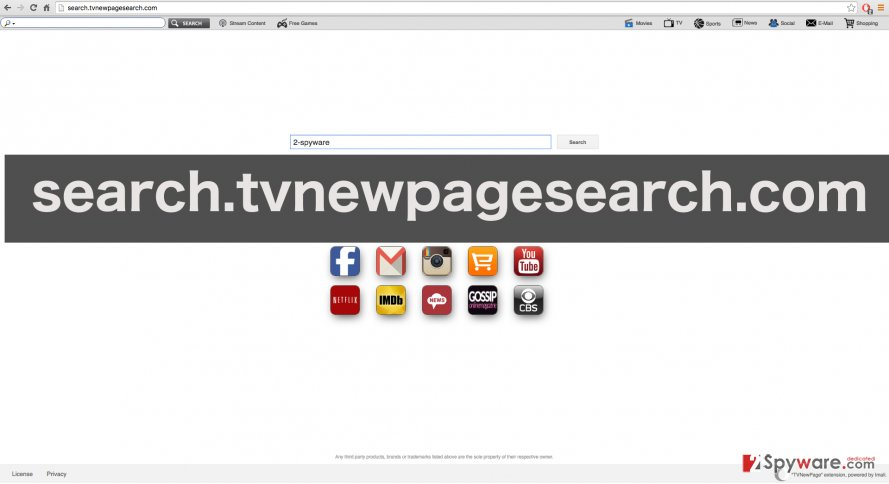 A screenshot of the Search.tvnewpagesearch.com website