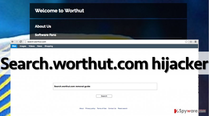 An image showing Search.worthut.com search engine