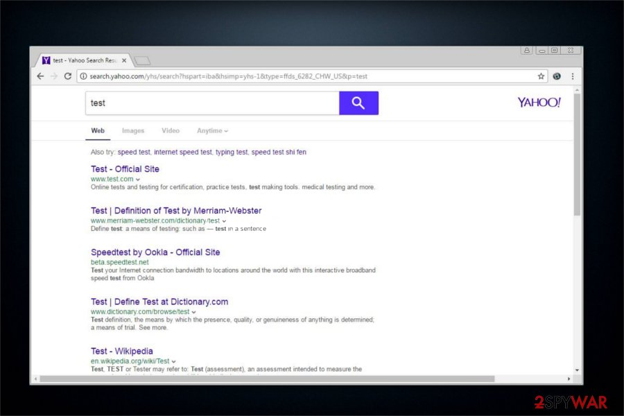 Search.yahoo.com potentially unwanted program