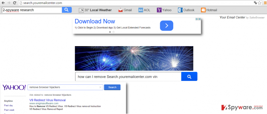 Showing Search.youremailcenter.com virus righ after initiating a hijack