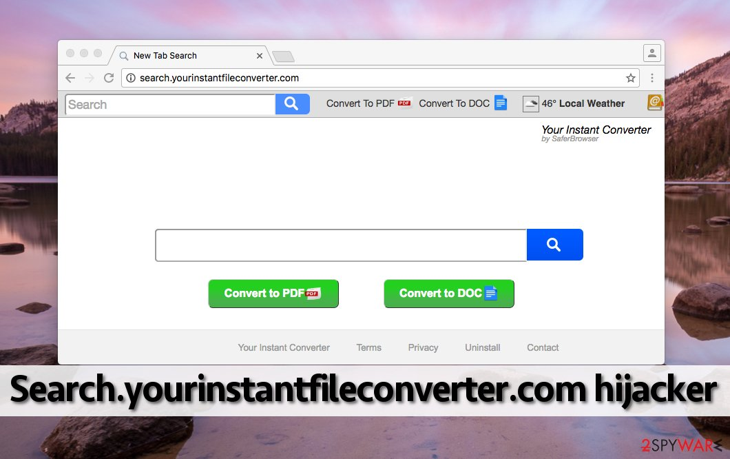 Image showing how Search.yourinstantfileconverter.com virus looks like in a browser
