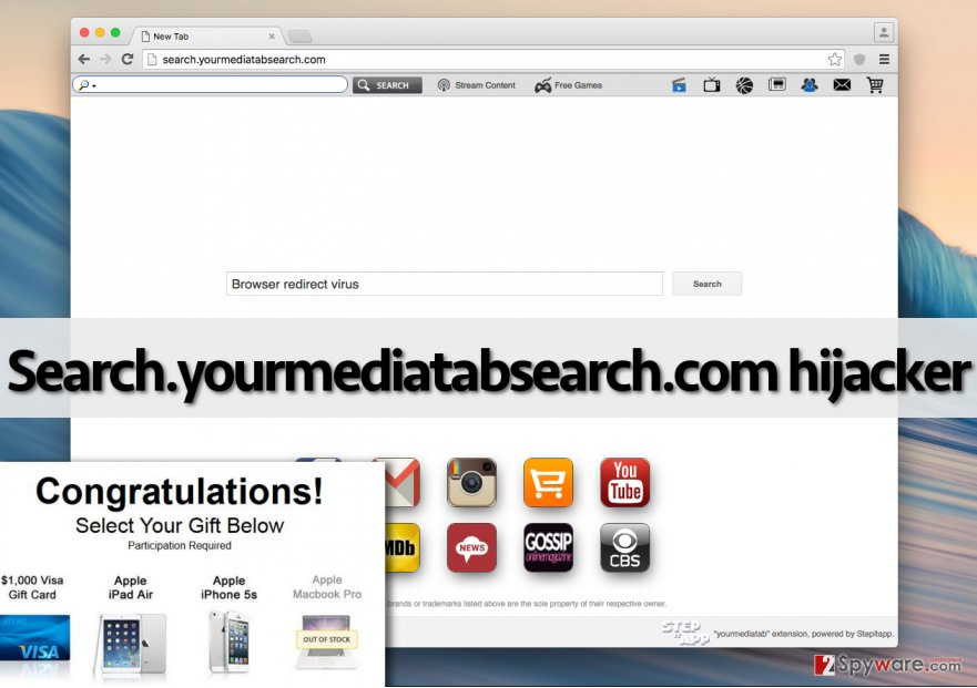 Screenshot of Search.yourmediatabsearch.com browser hijacker
