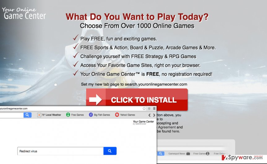 Search.youronlinegamecenter.com redirect virus