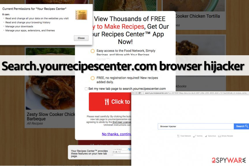 Search.yourrecipescenter.com browser hijacker