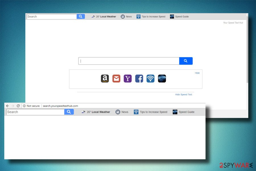A printscreen of Search.yourspeedtesthub.com hijacker