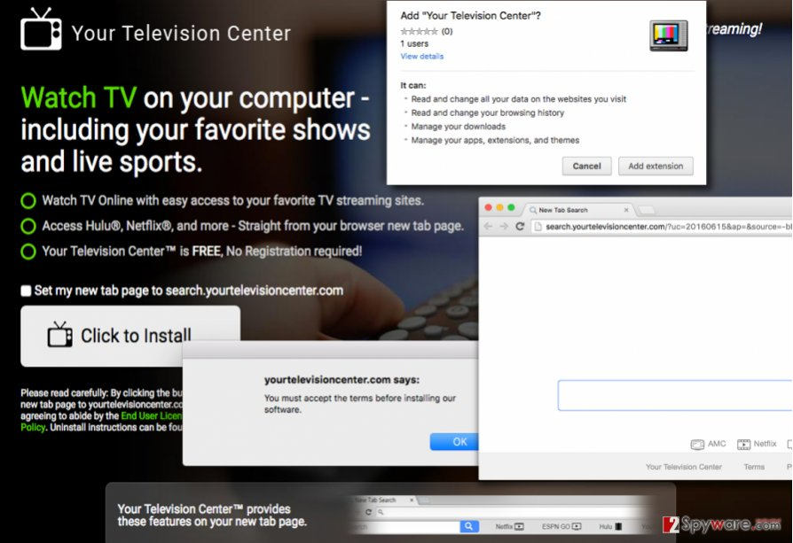 The website of Search.yourtelevisioncenter.com hijacker