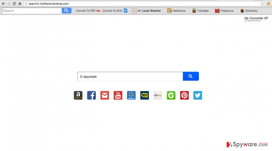 The screenshot of Search2.myfileconverterxp.com website