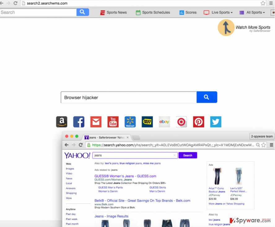 Search2.searchwms.com search engine might initiate redirects to suspicious web pages