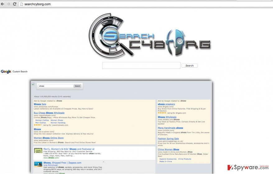 Untrustworthy search engine provided by SearchCyborg.com virus
