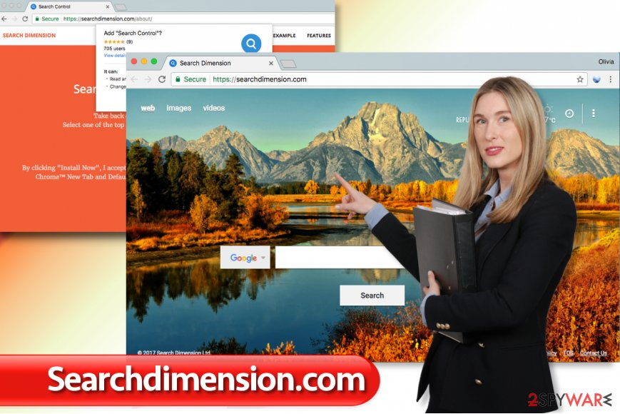 The illustration of Searchdimension.com virus