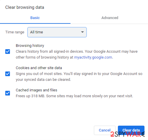 Clear web data and cookies from Chrome