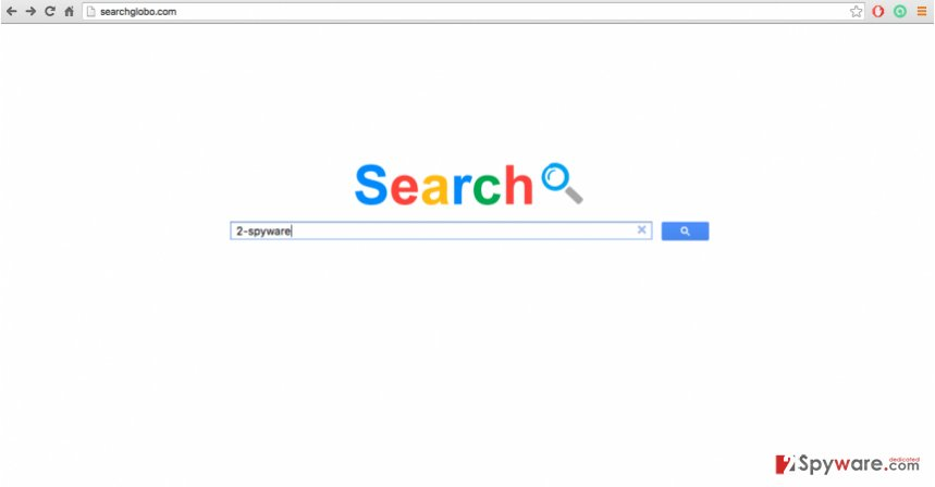 An image of Searchglobo.com browser hijacker website