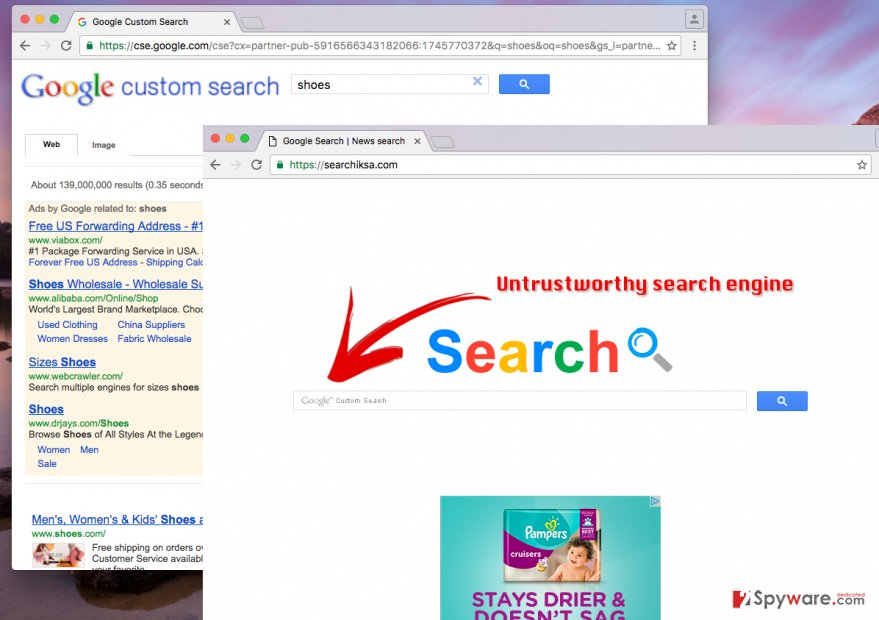 Searchiksa.com virus hijacks web browsers and sets a new homepage in them