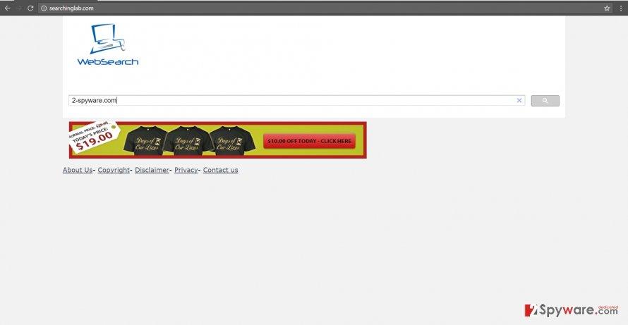 The image of searchinglab.com hijacker
