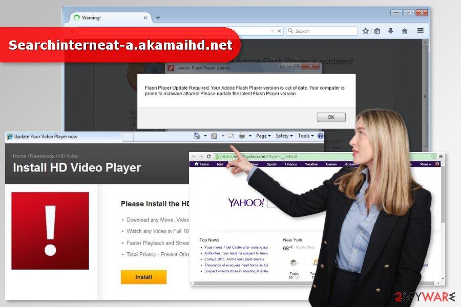 Illustration of Searchinterneat-a.akamaihd.net virus