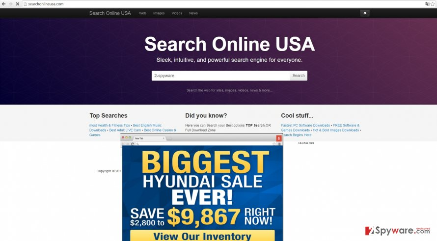 The screenshot of searchonlineusa.com virus