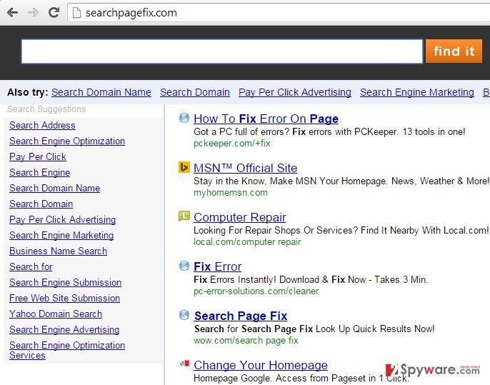 Searchpagefix.com hijack