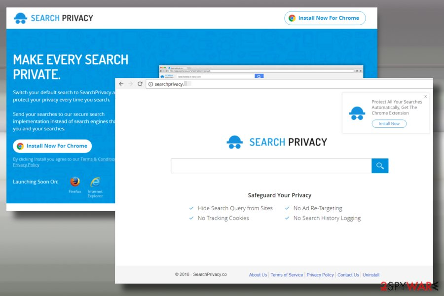 Printscreen of SearchPrivacy.live virus