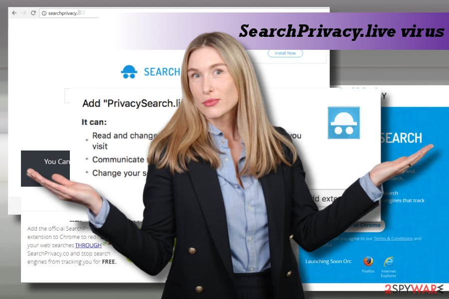 Showing SearchPrivacy.live redirect virus