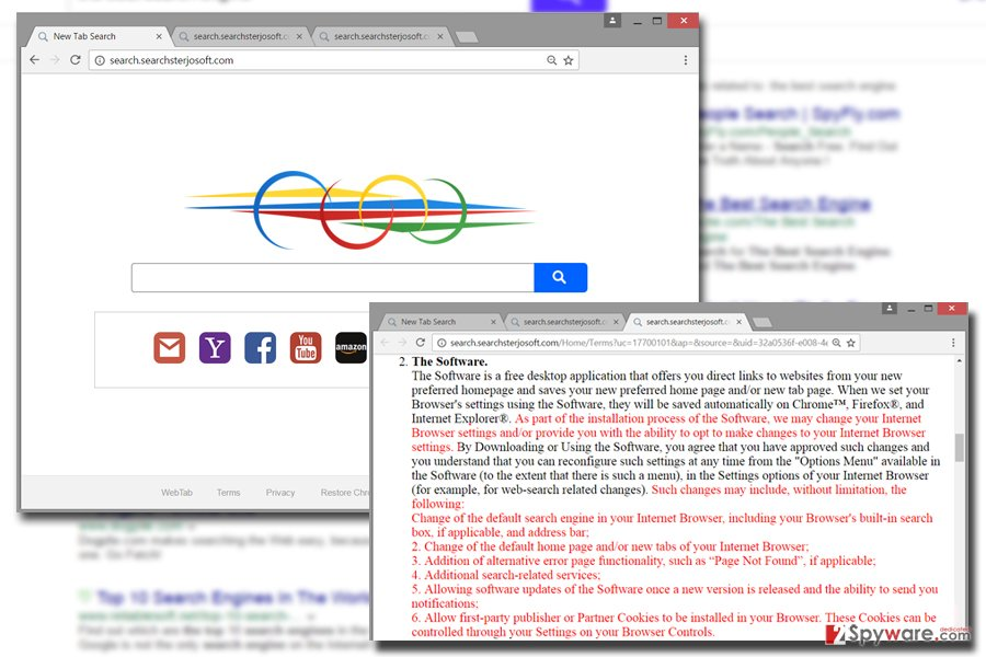 Picture of Searchsterjosoft.com virus