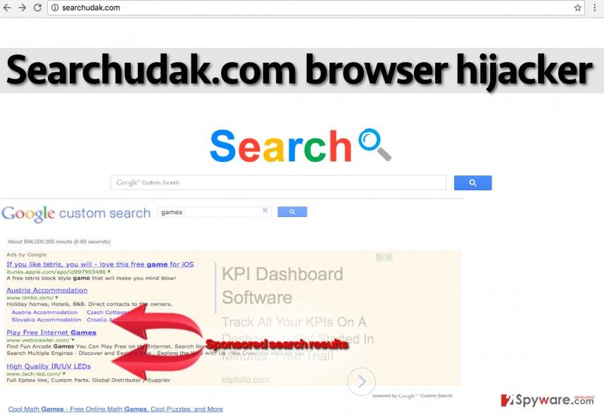 Image showing Searchudak.com's sponsored results