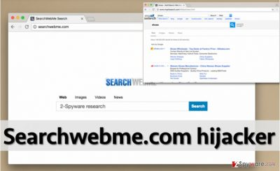 Screenshot of Searchwebme.com virus and search results