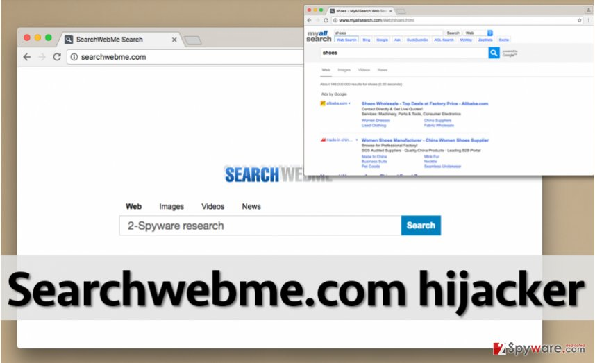 Image of Searchwebme.com browser hijacker and the search engine that it promotes