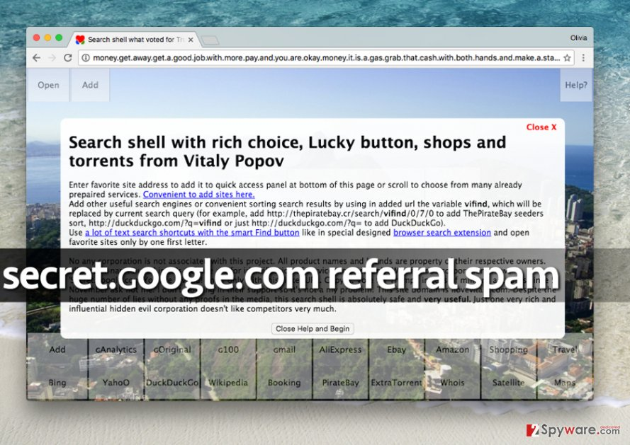 Secret.google.com referral spam virus advertises this shady search engine