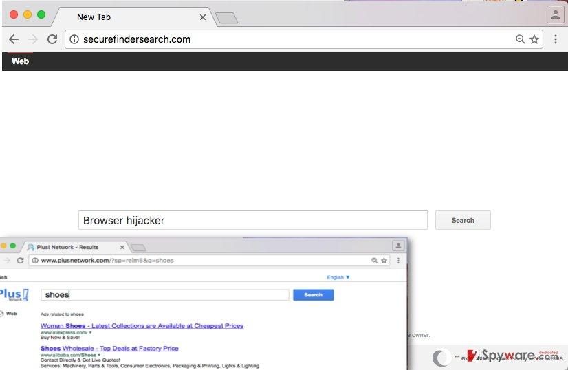 Image displaying Securefindersearch.com hijack