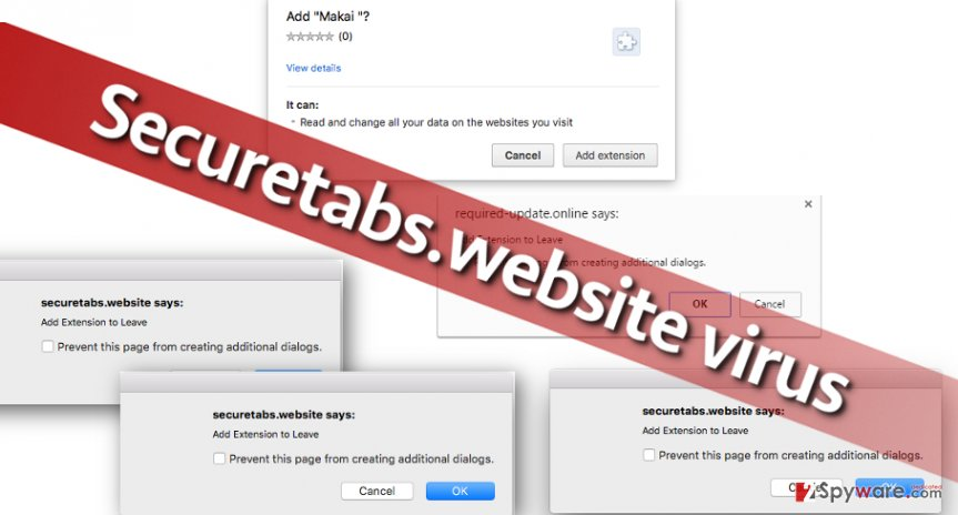 Screenshot of Securetabs.website pop-ups
