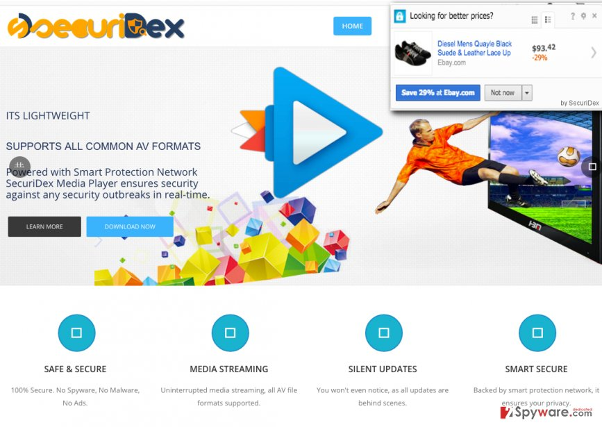SecuriDex web page and example of SecuriDex ads