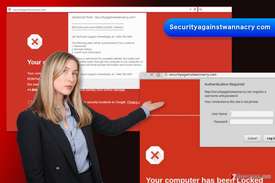 The image of Securityagainstwannacry.com tech support scam virus