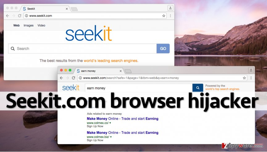 Seekit.com redirect virus inserts sponsored results next to organic results