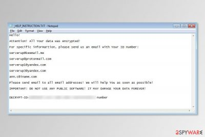 Server ransomware ransom note