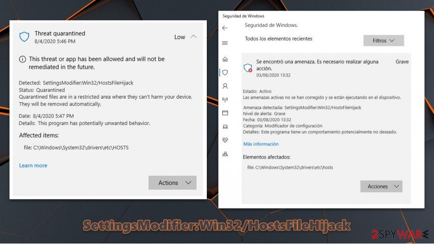 SettingsModifier:Win32/HostsFileHijack